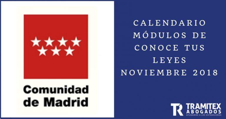Calendario Módulos de Conoce tus Leyes Noviembre 2018